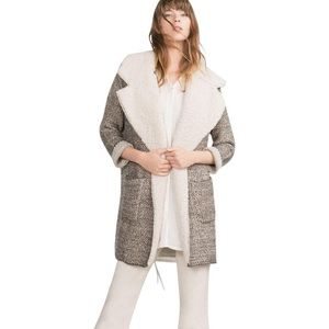 Zara Tweed Like Sweater Coat with Fleece Lining
